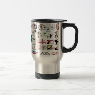 Travel Stamps Pattern Coffee Mugs