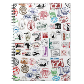 Travel Stamps Pattern Notebook