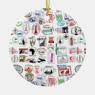 Travel Stamps Pattern Double-Sided Ceramic Round Christmas Ornament