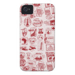 Travel Stamps Pattern Phone Case Case-Mate iPhone 4 Cases