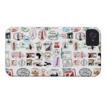 Travel Stamps Pattern Phone Case iPhone 4 Cases