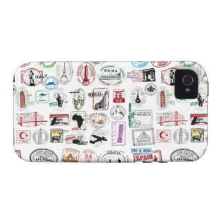 Travel Stamps Pattern Phone Case Vibe iPhone 4 Cases