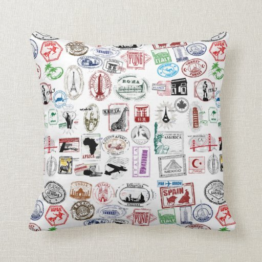 Travel Stamps Pattern Pillows