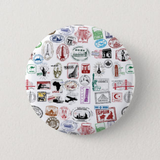 Travel Stamps Pattern Pinback Button