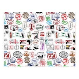 Travel Stamps Pattern Postcards
