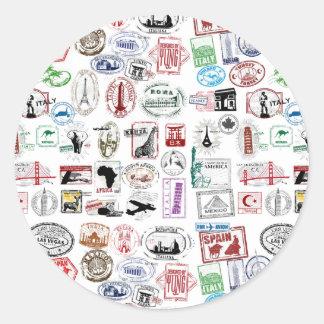 Travel Stamps Pattern Sticker