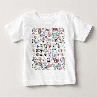 Travel Stamps Pattern Tee Shirt