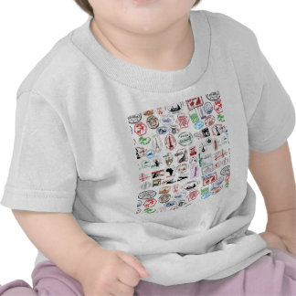 Travel Stamps Pattern T-shirts