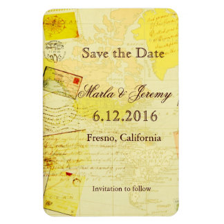 Travel style save the date magnet