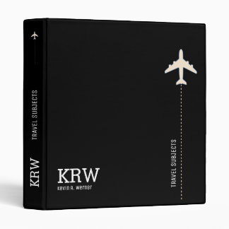 travel subjects black and white modern 3 ring binder