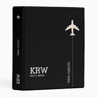 travel subjects black and white personalized mini binder