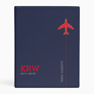 travel subjects blue and red personalized mini binder