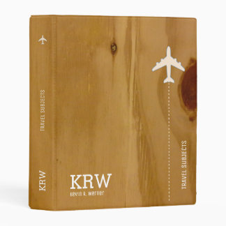 travel subjects on faux wood stylish & rustic mini binder