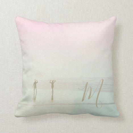 Travel Summer Surfers Beach Pretty Pink  Monogram Throw Pillow