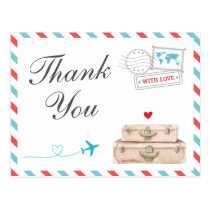 Travel Thank You Card, Airplane Airline Wedding Postcard