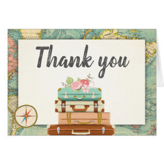 Travel Thank you card World map Vintage Adventure