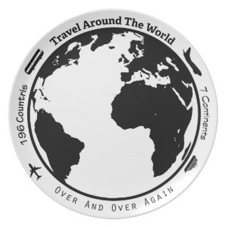 Travel the globe party plate