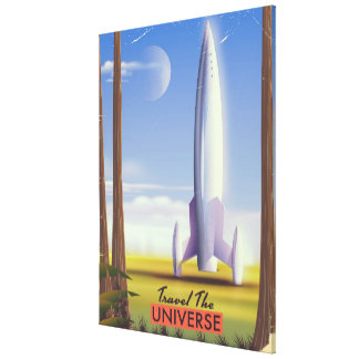 Travel the Universe retro space art. Canvas Print