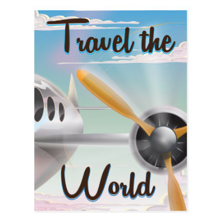 Travel the World Classic airplane poster Postcard