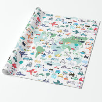Travel The World Little Explorer Vehicles Wrapping Paper