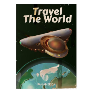 Travel the World Science fiction retro poster Large Business Card