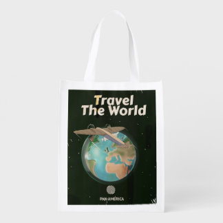 Travel the World Science fiction vintage poster Grocery Bag