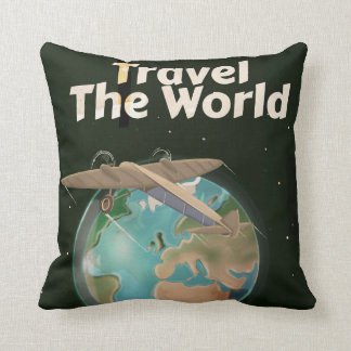 Travel the World Science fiction vintage poster Pillows