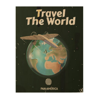 Travel the World Science fiction vintage poster Wood Wall Art