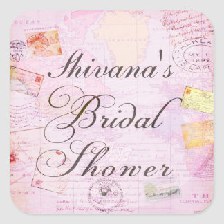 Travel Theme Bridal Shower stickers