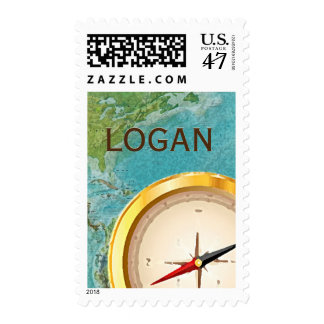 Travel theme compass map personalized postage