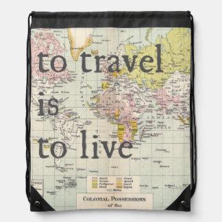 Travel Theme Drawstring Backpack