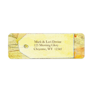 Travel theme in cocoa and cream address labels. label