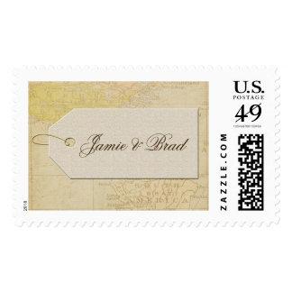 Travel theme ticket postage stamp