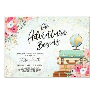 Travel themed Baby shower invite Adventure Begins