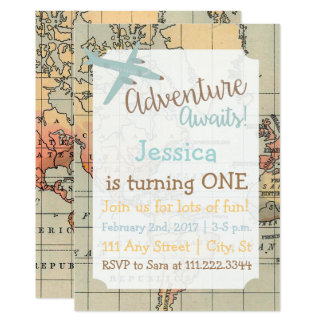 Travel Themed Birthday Invite