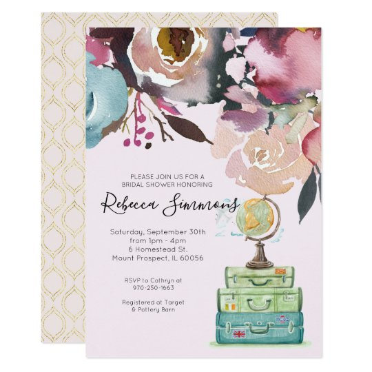 4621a310e849 Travel Themed Bridal Shower Invitation