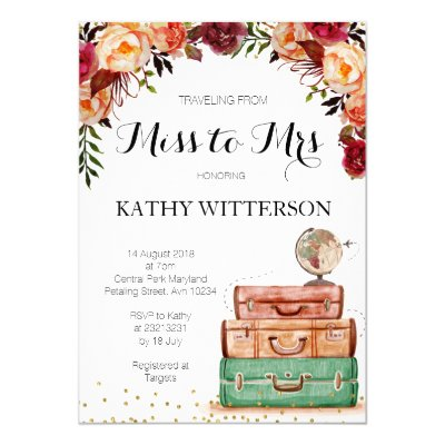 Monogram Traveling from Miss to Mrs Bridal Shower Card   Zazzle