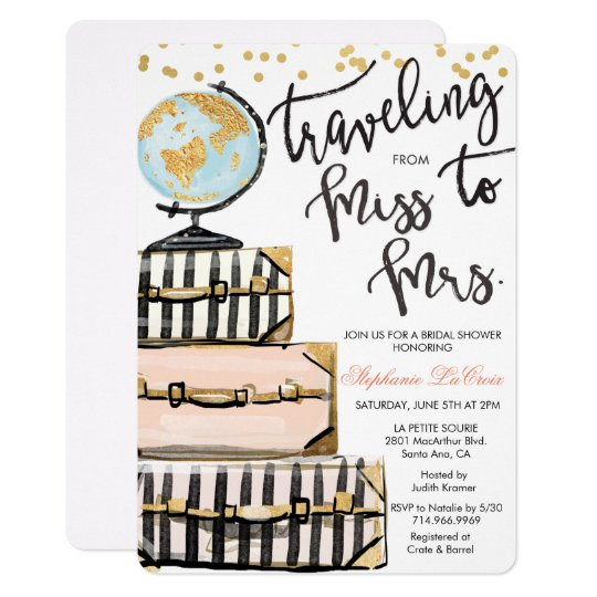 Travel Themed Bridal Shower Invitation Zazzlecom