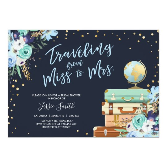 Travel themed bridal shower invitation miss to mrs zazzle travel themed bridal shower invitation miss to mrs filmwisefo