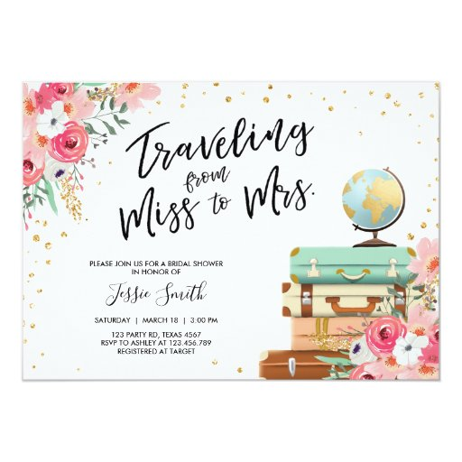 Travel themed Bridal shower invitation Miss to Mrs