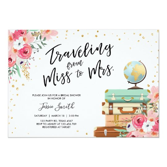 e229eab274d878 Travel themed Bridal shower invitation Miss to Mrs