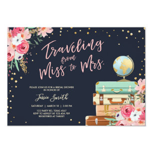 Travel theme invitations announcements zazzle travel themed bridal shower invitation miss to mrs filmwisefo