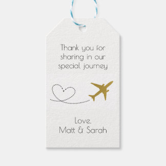 Travel Themed Party Favor Tag- Gold Wedding Gift Tags