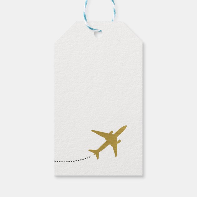 Travel Themed Party Favor Tag- Gold