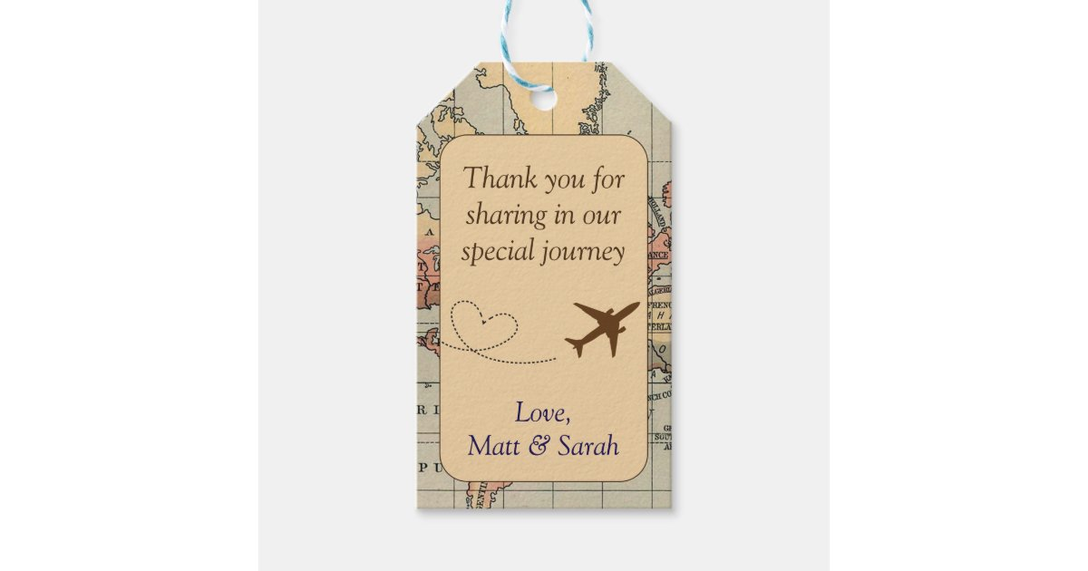 Travel Themed Party Favor Tag Vintage Wedding Gift Tags