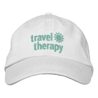 Travel Therapy Embroidered Hat White & Mint Green