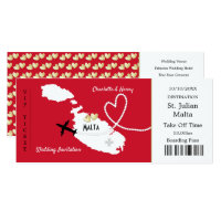 Travel Ticket Boarding Pass Malta Wedding Invite