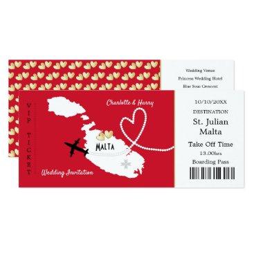 Beach Themed Travel Ticket Boarding Pass Malta Wedding Invite