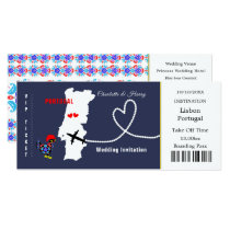 Travel Ticket Boarding Pass Portugal Wedding Card