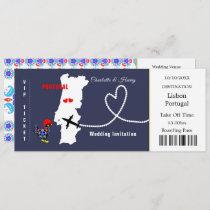 Travel Ticket Boarding Pass Portugal Wedding Invitation